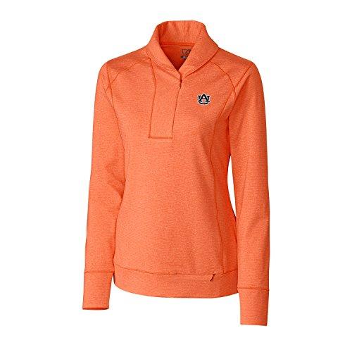 Cutter & Buck NCAA Auburn Tigers Women's Shoreline Half Zip Shirt, Large, College Orange Heather (Womens Shoreline Cover)