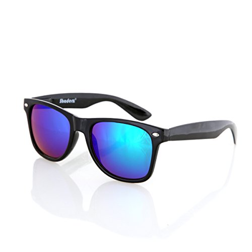 Shaderz Sunglasses Classic Glossy Black Frame Retro 80's ReflectiveMirror Blue - Blue Ii Ray Mirror Aviator Light