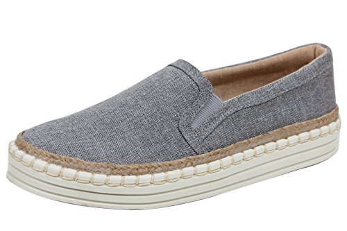 Soda Womens Linen Espadrille Rubber Sole Loafer Slip On Grey