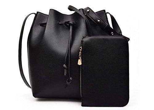 Drawstring Bucket Bag Momtmo Pu Leather Shoulder Bag Set Crossbody Bag Handbags for Women (one size, black)