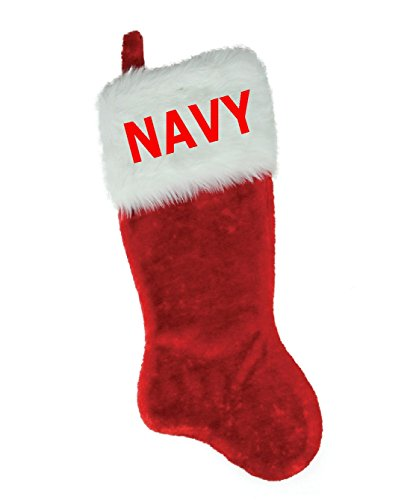 NAME (NAVY) EMBROIDERED 18'' X 8.5'' Traditional Red and White Plush Christmas Stocking PERSONALIZED by Christmas STOCKING