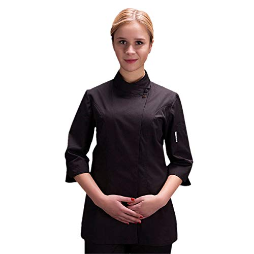 - Women's Chef-Coat 3/4 Sleeve Concealed Snap Chef Works Summer Chef Jacket