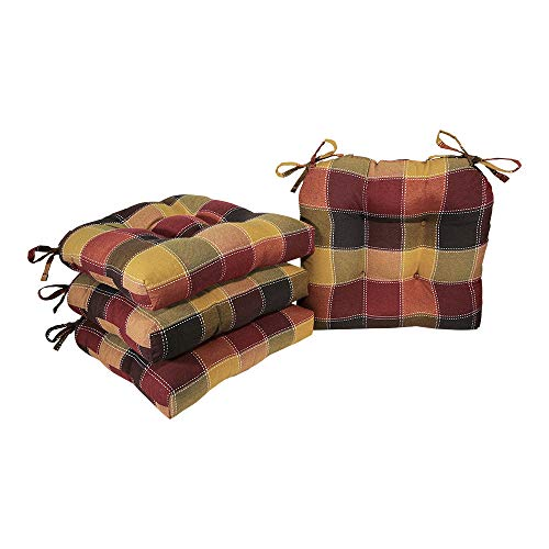 Arlee - Harris Plaid Chair Pad Seat Cushion, Full-Length Ties for Non-Slip Support, Durable, Superior Comfort and Softness, Reduces Pressure, Washable, 16 x 16 Inches (Red, Set of 4) (With Kitchen Chair Ties Cushions)