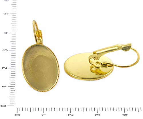 4pcs Gold Plated Lever Back Earring Blank Flat Oval Cabochon Cameo Tray Setting Metal Findings 18mm x ()