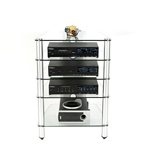 Audio Rack in Glass and Aluminum Finish RTA AVM-005 by RTA Home and Office