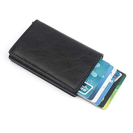 Black Topeedy Credit Card Holder RFID Blocking Wallet Slim Wallet Cowhide Leather Vintage Aluminum Business Card Holder Automatic Pop-up Card Case Wallet Security Travel Wallet