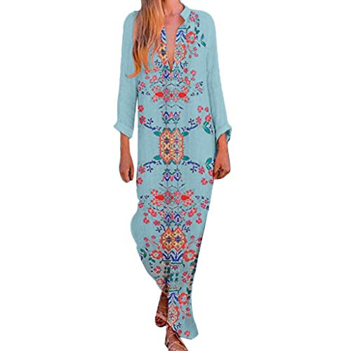 Kulywon Women Print V-Neck Side Slit Bohemian Dresses Shift Boho Maxi Dress Light Blue ()
