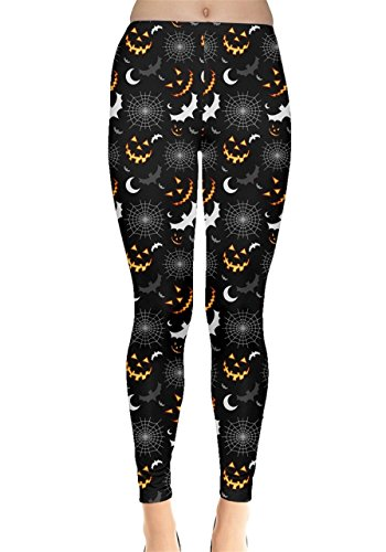 CowCow Womens Black Halloween Horror Symbols Leggings, Black - M