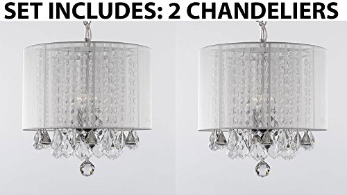 Set of 2 – Crystal Chandelier Chandeliers With Large White Shade! H15