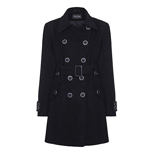 De La Creme - La lana de cachemira capa con cinturón de la Mujer Negro
