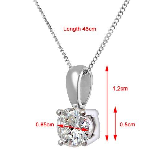 Revoni Bague en or blanc-18carats Solitaire diamant collier pendentif diamant H/SI