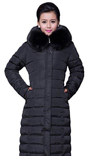 Ace Women's Long Maxi-length Down Coats Down Jackets Faux-fur Hoodie Plus Size (US 16-18, black)