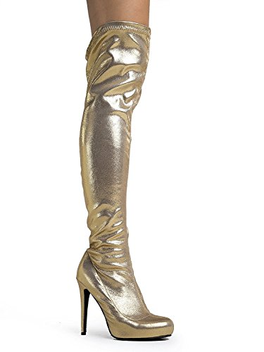 Dev Womens Breckelle 8 Strech Pull On Lace Up Faux Over The Kneethig Highstileto Heel Boots Gold Pamela-61