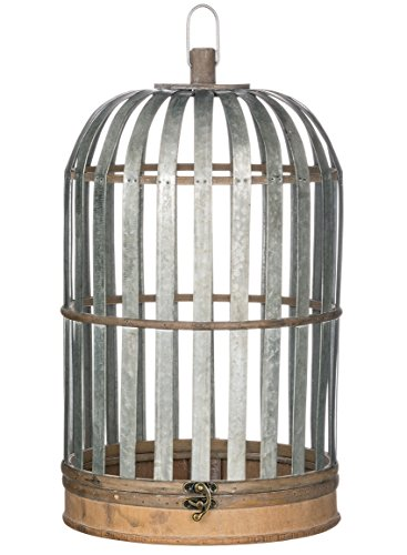 Sullivans N2014 Birdcage Style Medal and Wood Candle Lantern, Gray, 12.5 x 21 Inch (Lantern Candle Birdhouse)