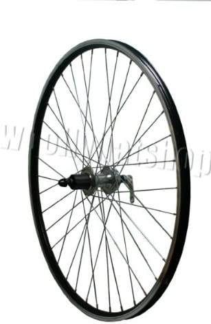 700c Double Walled Rear Bicycle Wheel with Disc Cassette Hub and CNC Braking Surface Rim in Black