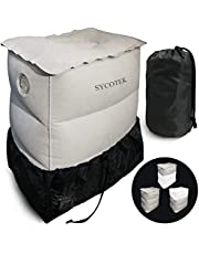 SYCOTEK Travel Pillow Footrest Inflatable, Car Seat Kids Footrest Inflatable Pillow t to Relax Feet & Protect Knees, Portable Travel Pillow in Car, Train, Flight, Grey