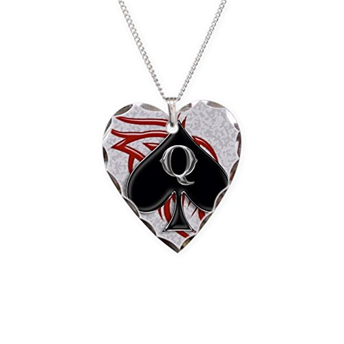 Charm Necklace Spade - CafePress - Queen Of Spade Tribal - Charm Necklace with Heart Pendant