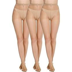 2ad6d7091 Avidlove Womens Socks Hosiery Tights Control Top Sheer 12 Denier Pantyhose 3  Packs Skin Color S