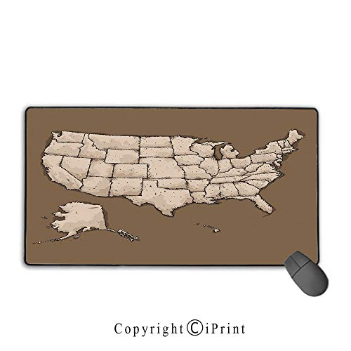State Ladies Gm Series - Extended gaming mouse pad with stitched edges,USA Map,Sketchy Style Rough American Continent Map with Puzzle Like Fractal State Pattern Decorative,Umber Beige,Suitable for laptops, computers, PCs, key