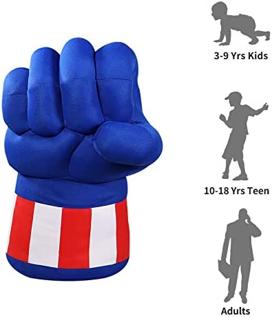 XIANGQUANWANG Captain America Gloves Halloween Party illuOKey Captain Hero Hands for Kids Ideal for Cosplay Premium Quality 3D PP Polyester Microfiber Filling Superhero Gloves Birthday Gift