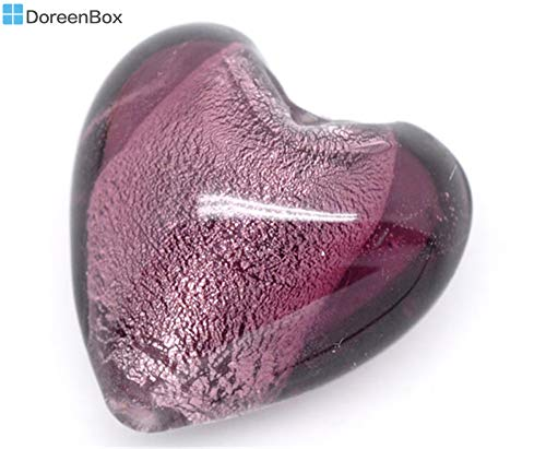 10 Purple Heart Foil Glass Lampwork Beads 20x20mm (B08194)