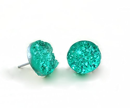 12mm Faux Druzy Stud Earrings - Stainless Steel Posts for Sensitive Ears Boho Chic Sparkly Glitter Studs (Mint Green) - Green Stud Earring Box