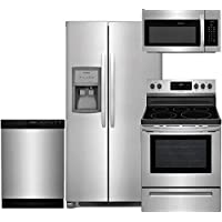 Frigidaire 4-Piece Stainless Steel Package, FFSS2625TS 36 Side-by-Side Refrigerator, FFGF3054TS 30 Gas Range, FFID2426TS 24 Fully Integrated Dishwasher, FFMV1645TS 30 Over-the-Range Microwave