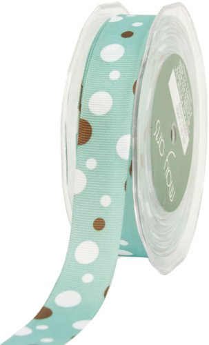 May Arts 7/8-Inch Wide Ribbon, Teal and Brown Grosgrain Bubble Dots