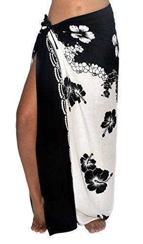 Hibiscus Wave Sarong Pareo BeachWrap Swimsuit Coverup Black/White