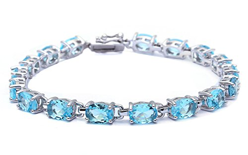 13.5CT Oval Cut Simulated Aquamarine .925 Sterling Silver Bracelet Sterling Silver Cut Gemstone