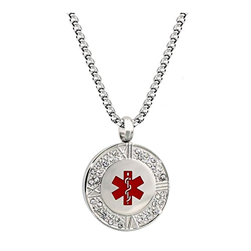 (Stainless Steel Crystal Medical Alert ID Necklace for Women 24 inch,Free Engraving)