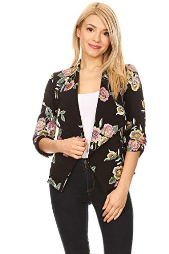 Solid Print 3/4 Sleeve Relax Fit Open Front Cardigan Blazer Jacket/Made in USA Embroidered Black Pink M