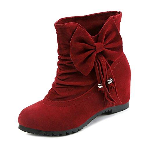 tobillo Manadlian mujer invierno caliente Botas Calzado tinto Bota Vino Botas fgyYqAg