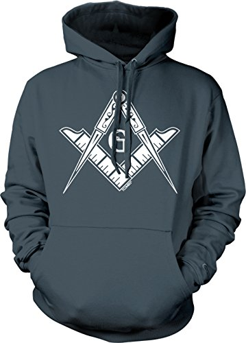 State Logo Square - Freemason Logo - Square & Compass Symbol Adult Hoodie Sweatshirt (Charcoal, X-Large)