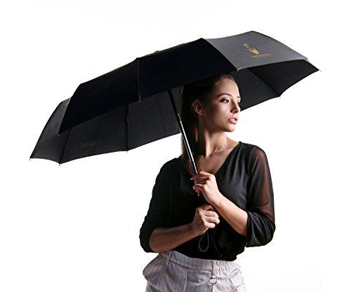 DeNobilli Windproof Travel Umbrella, [Classic Black] Auto Open Close Compact Umbrellas with Real Wood Handle