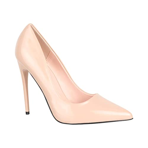 Elara Damen Pumps Spitz High Heels Lack Stiletto Chunkyrayan