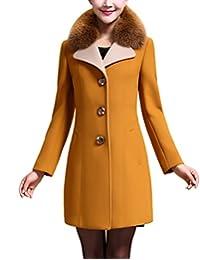 ZANLICE Women's Fur Lapel V Neck Button Down Cashmere Wool Coat XS S M L