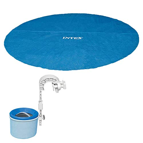 Intex 18 Foot Round Easy Set Blue Vinyl Solar Cover for Swimming Pools, 29025EIntex Deluxe Wall-Mounted Swimming Pool Surface Automatic Skimmer | 28000E Automatic Solar Pool Covers