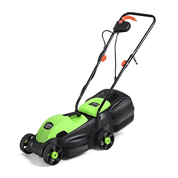 Goplus 14-Inch 12 Amp Lawn Mower w/Grass Bag Folding Handle Electric Push Lawn Corded Mower 1 【Height Adjustable and Comfortable Grip】This lawn mower features 3 level adjustable height: 1''/1.6''/2.2'', which is suitable for people of different heights. Equipped with ergonomic curved handle, it provides a more natural, comfortable grip. 【Perfect Cutting Deck】14-inch cutting deck offers a great balance of maneuverability and cutting capacity making it ideal for different areas. It is a good choice for you to clean your garden more quickly. 【Big Collection Box】With a big collection grass box, the capacity to collect grass is 30L. It makes sure that your lawn clean when you are weeding and it also is more convenient for you to quickly finish the job.