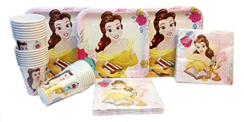 Disney Princess Belle Beauty and The Beast Party Pack. Contains 24 Belle Plates, 24 Cups, 32 Party Lunch Napkins. Bundle of 8. -