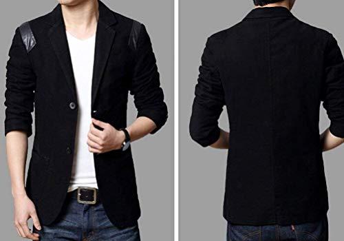 Slim Hombres Chaqueta Outwear Elegante Ocio Casual Tops Schwarz OBx0nvwq