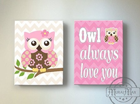 MuralMax - Chevron Owl Always Love You Décor - Canvas Nursery Art Collection - Set of 2 - Size - 11 x 14 by MuralMax (Image #5)