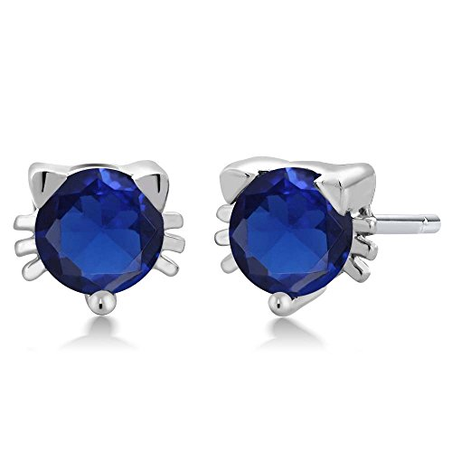 1.20 Ct Round 5mm Blue Simulated Sapphire 925 Sterling Silver Kitty Cat Stud Earrings by Gem Stone King