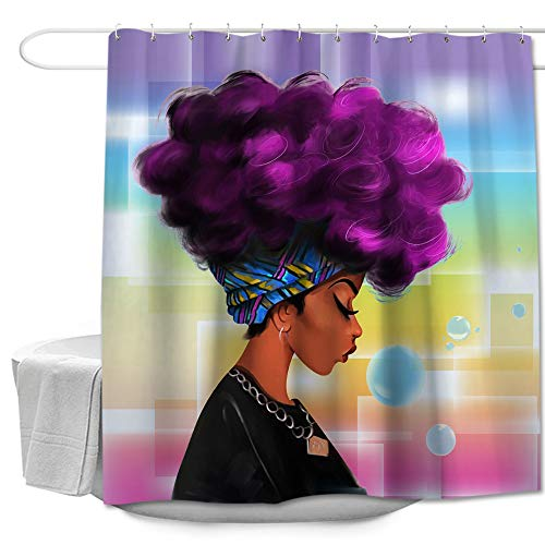 Colorful Star African Black Women with Purple Hair Afro Watercolor Portrait Shower Curtain Machine Washable Waterproof Durable 100% Polyester with Hooks 72