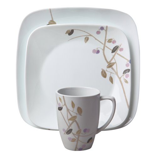 Corelle Square 16-Piece Dinnerware Set, Midnight Garden, Service for 4 (Corelle Cereal Bowls Green Rim compare prices)