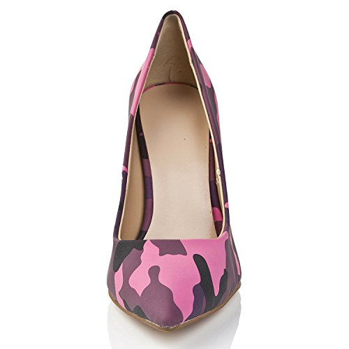 Pumps Minitoo On Gold Heel Leopard Evening High Morado Chunky Zapatos Slip MA1183 z5zwxHrqT