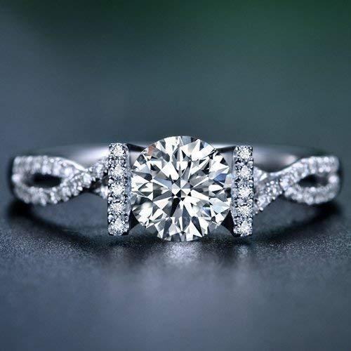 50a670b6c Amazon.com: Round Cut Moissanite Engagement Ring 14k White Gold Palladium Platinum  Infinity Handmade Diamond Ring Anniversary Ring Forever One: Handmade