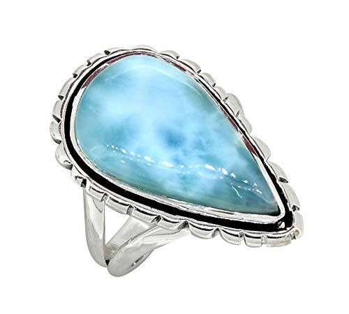 YoTreasure Pear Shape Larimar Solid 925 Sterling Silver Gemstone Ring Jewelry