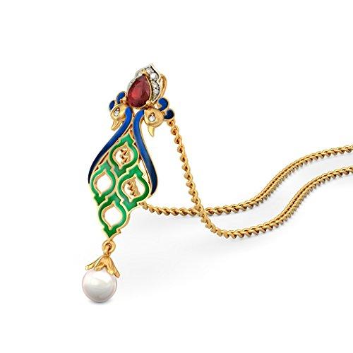 Or jaune 18K 0,05CT TW Round-cut-diamond (IJ | SI) et rubis et blanc perle Pendentif