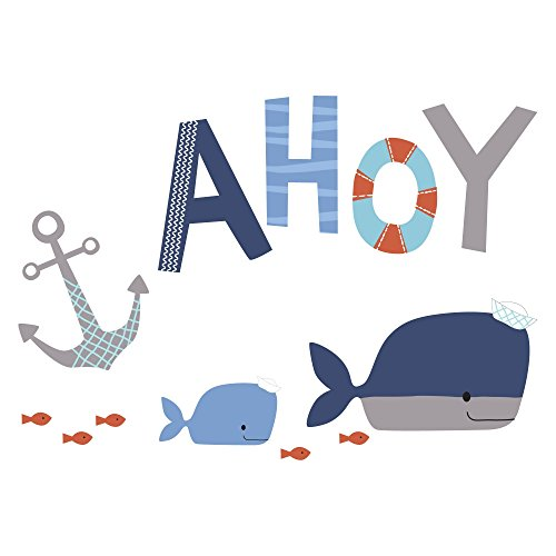 Lambs & Ivy Ahoy Blue Whale Aquatic Nautical Wall Decals/Appliques (Wall Nautical Letters)